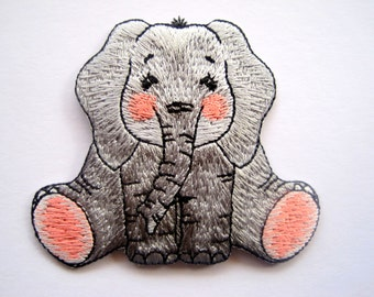 Elsie Elephant Embroidered Iron On Applique, Grey, x 1, Embellishment For Children Apparel, Accessories, Home Decor, Mixed Media