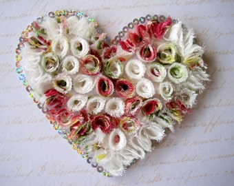 """Rolled Fabric Extra Large Heart Applique, Multi, x 1,5 1/2"""" x 5"""" inches, Apparel, Accessories, Costumes, Mixed Media, Romantic Crafts"""