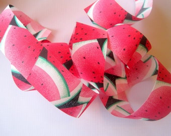 """Watermelon Cotton Ribbon Trim, Multi / Pink, 1 3/8"""" inch wide, 1 yard, For Mixed Media, Gifts, Scrapbook,  Home Decor, Accessories"""