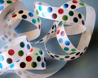 """Jumbo Dots Satin Ribbon Trim, Multi / White, 7/8"""" inch wide, 1 yard, For Gift Wrapping, Scrapbook, Decor, Accessories, Mixed Media"""