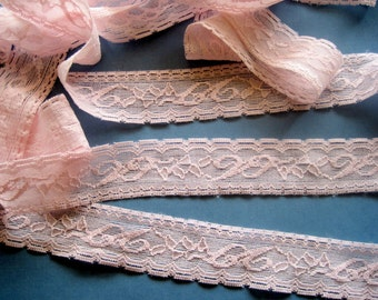 Elastic Romantic Lace Trim, Pink, 1 1/4 inch wide, 1 yard, For Accessories, Home Decor, Mixed Media, Apparel, Scrapbook