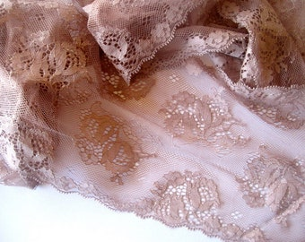 """Chocolate Extra Wide Lace, Brown, 6 1/2"""" inch wide, 1 Yard For Apparel, Home Decor, Accessories, Mixed Media, Scrapbook"""
