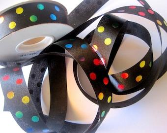 "Aspirin Dots Satin Ribbon Trim, Multi / Black, 7/8"" inch wide, 1 yard, For Gift Wrapping, Scrapbook, Decor, Accessories, Mixed Media"