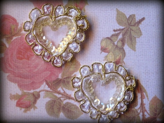 Lace d oro golden heart applique white gold for etsy
