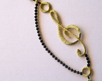Embroidered Iron On Musical Note Applique, Black / Gold, x 1, For Apparel, Accessories, Costumes, Mixed Media, Romantic Crafts