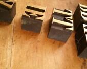 Antique printing block letters , letterpress letters , wood letter press blocks