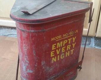 Vintage eagle step trash can , industrial trash can , oil rag trash can, industrial shop trash can