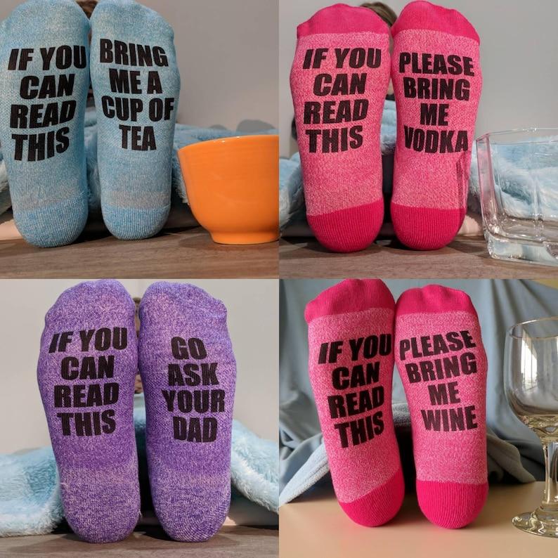 personalized socks funny socks Custom Socks Women/'s Gift Idea Set of 4-If You Can Read This rub my feet wine socks bring me wine