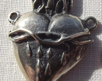 Sterling Sacred Heart Rosary Center Centerpiece Heart of Jesus