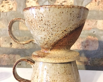 Handmade Ceramic Coffee Pour Over + Mug
