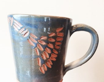 Blue Dandelion Handmade Mug