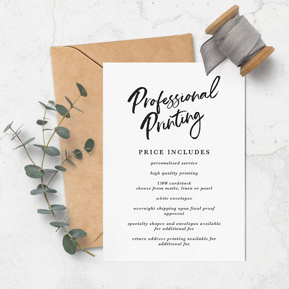 professional printing 5x7 invitations and photo cards with etsy