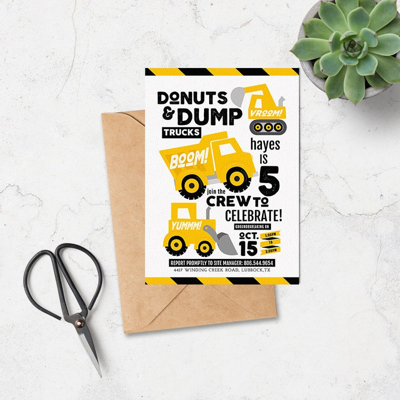 Printable Construction Birthday Invitation Donuts And Dump Trucks Editable Template Boy Party Instant Download