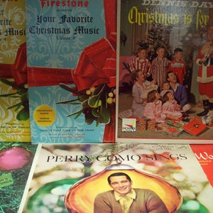 6 christmas lps vintage vinyl wall art music record albums 50s 60s perry como jack benny dennis day firestone mid century hi fi stereo