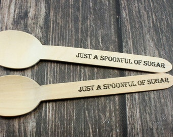 25 Spoonful of Sugar, Wooden Spoons, Hand Stamped, Mary Poppins Party, Birthday, Decoration, Favors, Shower, Silverware, serving and dining
