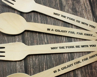 12 Star Wars Forks, Spoons, Knives, May The Fork Be with You, In Galaxy Far Far Away, Kids Party, Hand Stamped, Wooden Silverware Disposable