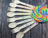 Arrows,You Pick Colors and Utensil Type, 25 Hand Stamped Wooden Forks, Spoons, Knives, Wooden Utensils, Cutlery, Silverware Rainbow, Arrow
