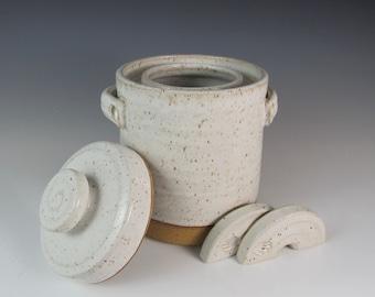 fermentation crock - ready to ship crock -  2 quart crock -kimchi - crock and weights - fermenting crock