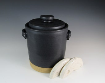 fermentation crock - ready to ship crock -  3 quart crock -kimchi - crock and weights - fermenting crock