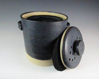 composter compost bin with charcoal filter kitchen crock handmade pottery natural living composting wedding gift