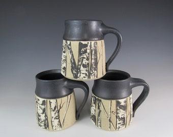 pottery mug ceramic mug coffee mug pottery mug birch mug vintage style handmade pottery mug ceramic mugs tree mug
