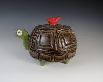 cookie jar canister handmade pottery turtle jug folk art ceramic handcrafted sculpted