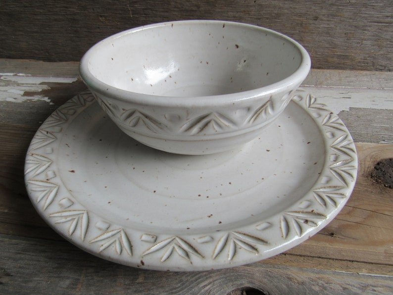 Dinnerware sets place setting handmade pottery plates bowls image 0
