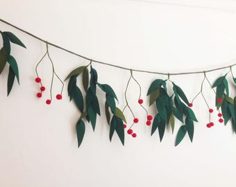 Hand made felt Cherry Christmas garland, pom poms
