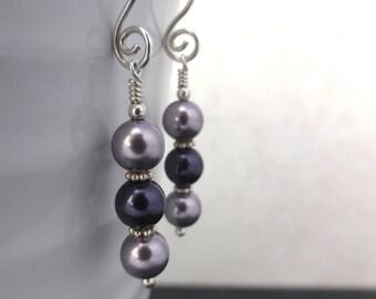 Purple Swarovski glass pearl earrings, sterling silver