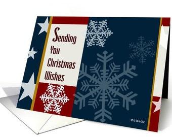 Patriotic Retro Style Christmas Cards