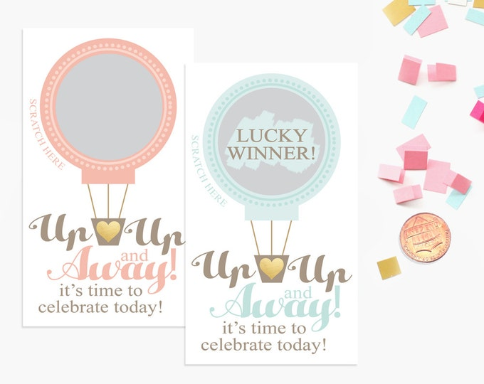 10 Pink or Blue Hot Air Balloon Scratch Off Game Cards - Baby Shower Game