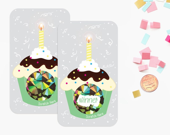 Cupcake Scratch off Game Cards - Birthday Party Game - Party Favors - 10 Cards
