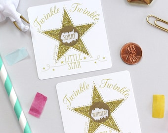 10 Gold Twinkle Twinkle Little Star Scratch Off Game Cards - Baby Shower Game