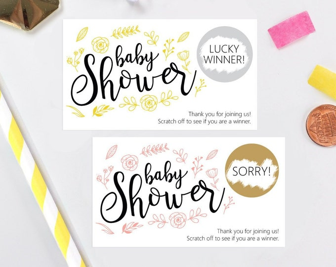 10 Personalized Floral Baby Shower Scratch Off Game Cards - Baby Shower Game