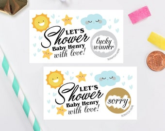 10 Personalized Baby Shower Scratch Off Game Cards - Baby Shower Game