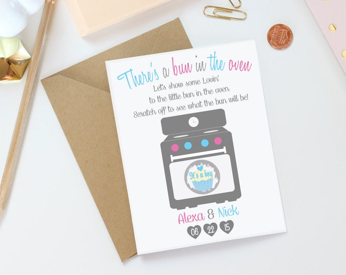 Gender Reveal Announcement Scratch Off Card - Baby Gender Reveal Card - Bun In The Oven Card