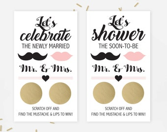 10 Mustache Gold and Pink Bridal Shower Scratch Off Cards - Bridal Shower Game - Bachelorette Party Game