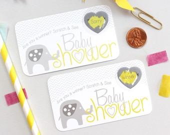 10 Yellow Baby Elephant Baby Shower Scratch Off Game Cards - Baby Shower Game