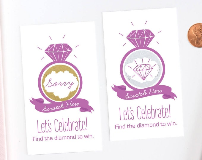 Purple Bridal Shower Scratch Off Cards - Bridal Shower Game - Bachelorette Party Game
