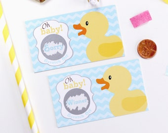 10 Yellow Rubber Duck Baby Shower Scratch Off Game Cards - Baby Shower Game