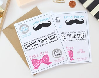Personalized Scratch Off Gender Reveal Card - Little Mr. or Little Miss. - Guess The Gender - Greeting Card
