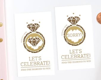 Gold Glitter - Bridal Shower Scratch Off Game Cards - Bridal Shower Game - Engagement Party - Diamond Ring