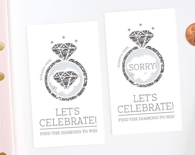 Diamond Ring Silver Glitter Bridal Shower Scratch Off Cards - Bridal Shower Game -  Bachelorette Party Game