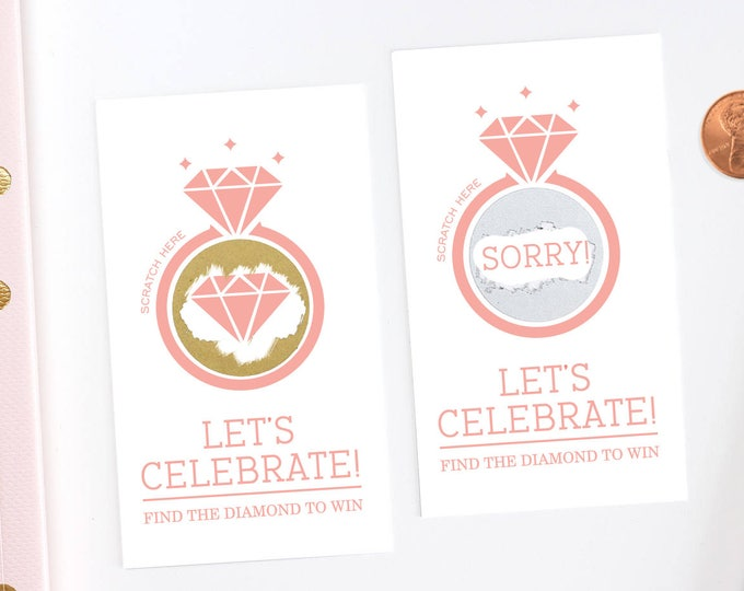 Blush Pink Bridal Shower Scratch Off Cards - Bridal Shower Game - Bachelorette Party Game