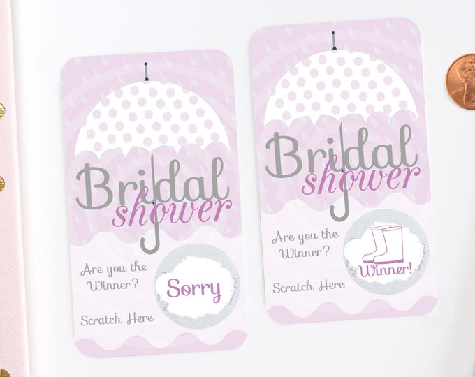 Lavender Umbrella Bridal Shower Scratch Off Cards - Bridal Shower Game - Bachelorette Party Game