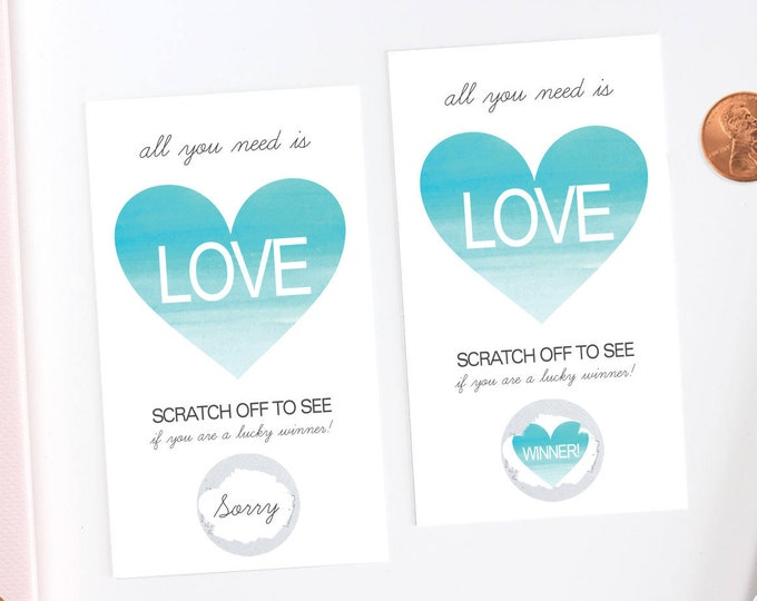 Blue Watercolor Heart Scratch Off Cards - Bridal Shower Game - Bachelorette Party Game