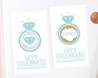 Jeweler Blue Bridal Shower Scratch Off Cards - Bridal Shower Game - Bachelorette Party Game