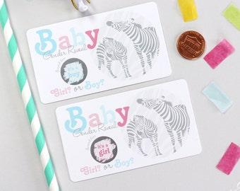10 Baby Gender Reveal Scratch Off Cards - Zebra Safari