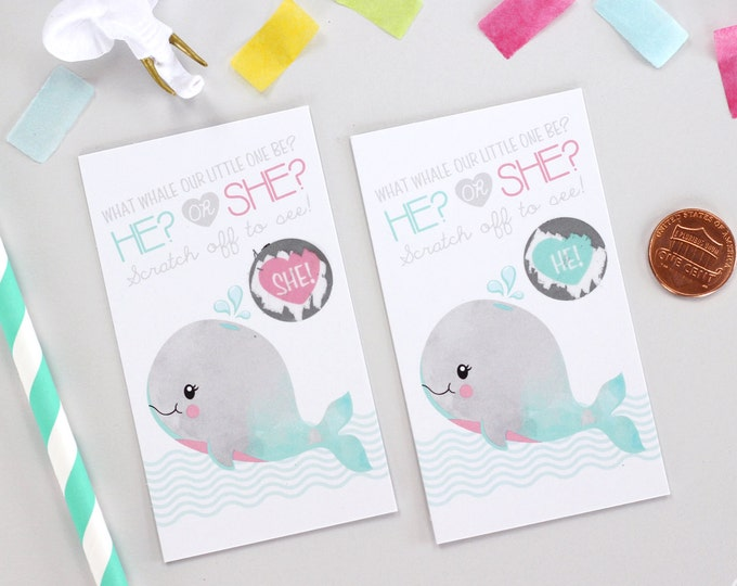 10 Baby Gender Reveal Scratch Off Cards - Pink & Blue Whale
