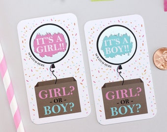 10 POP The Balloon Confetti Baby Gender Reveal - Baby Shower Scratch Off Cards - Gender Reveal - Baby Shower Game - Guess The Gender